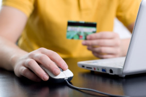 Online shopping concept, paying with a credit card