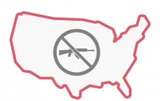 Mapa de los EEUU con un símbolo anti-armas