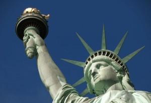Primer plano de la estatua de la libertad en Nueva York