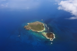 Aerial view of small island near to island Mauritius