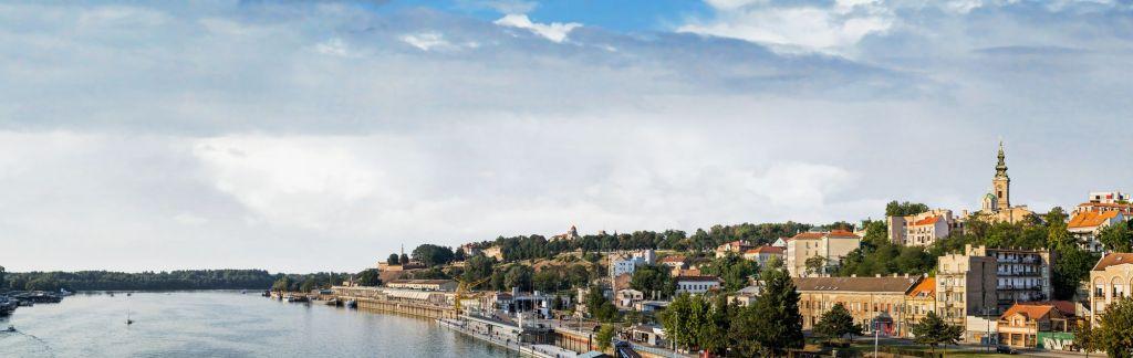 Panorama del río Sava, Belgrado, Serbia
