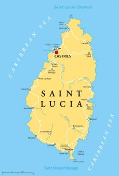 Mapa de la isla de Santa Lucía